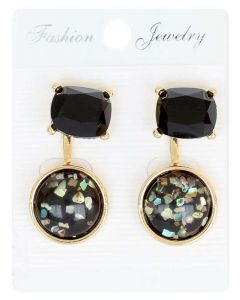 Black and Multi color Sparkling Crystals in Gold Color Earrings