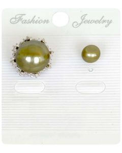 Bronze Color Mother Pearl and Baby Pearl Double Sided Earrings