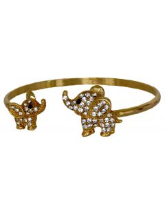 Gold Color Black Eye Baby and Mother Elephant Bracelet with Sparkling White Crystals