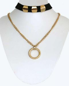 Gold Color Ring Pendent with Chain and Black Fabric Grand Choker