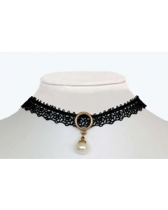 Gold Color Ring with Made Up Pearl and Charm Bell Pendent and Black Lace Choker