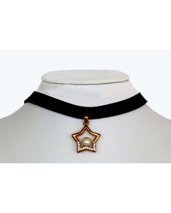 Gold Color Star Pendant with Made Up Pearl and Sparkling White Crystals and Black Fabric Choker
