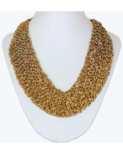 Gold Color Strings Netted Grand Necklace