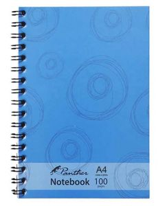 Panther Side Spiral Binding 100 Blank Page Notebook A4 Blue Circles