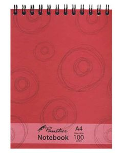 Panther Top Spiral Binding 100 Ruled Page Notebook A4 Red Circles