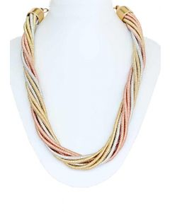 Platinum Gold Silver Color Strands Grand Necklace