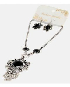 Set of Silver Color Black Pendent and Grand Necklace and Earrings