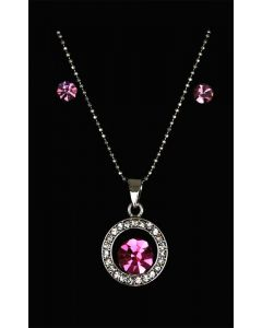 Set of Silver Color Circle and Droplet Pendant with Sparkling Pink and White Crystals and Chain and Earrings