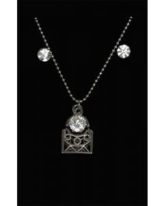 Set of Silver Color Droplet and Handbag Pendant with Sparkling White Crystals and Chain and Earrings