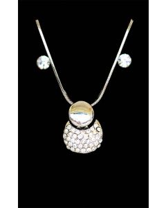 Set of Silver Color Droplet and Round Handbag Pendant with Sparkling White Crystals and Chain and Earrings