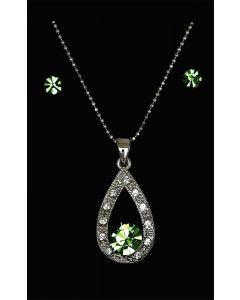 Set of Silver Color Droplet Pendant with Sparkling Green and White Crystals and Chain and Earrings
