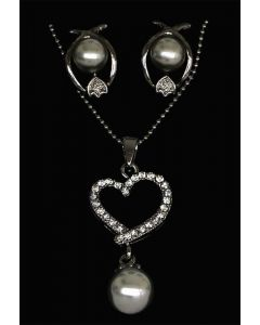 Set of Silver Color Heart Pendant with Made Up Pearls and Sparkling White Crystals and Chain and Earrings
