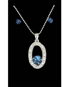 Set of Silver Color Oval and Droplet Pendant with Sparkling Blue and White Crystals and Chain and Earrings