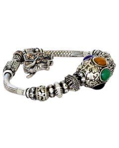 Silver Color Bracelet Baby and Mother Elephant with Sparkling Multi Color Crystals