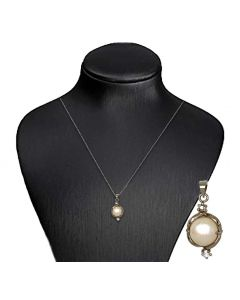 Silver Color Pendant with Cultured White Pearl and Sparkling White Crystals