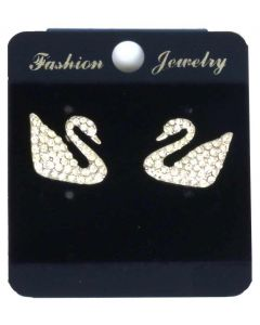 Sparkling White Crystals in Gold Color Swan Earrings