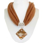 Brow and Orange Shades Acrylic Droplet and Brown Soft Fabric Grand Necklace