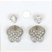 Sparkling White Color Crystal and white Crystals Butterfly in Silver Color Earrings